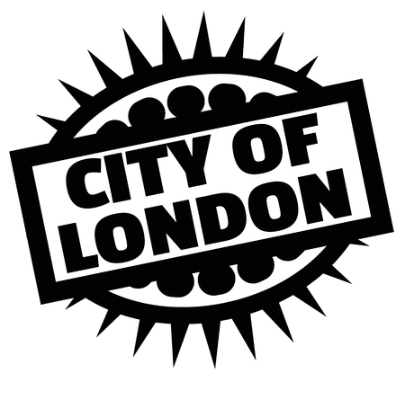 Print city of london stamp on white Çizim