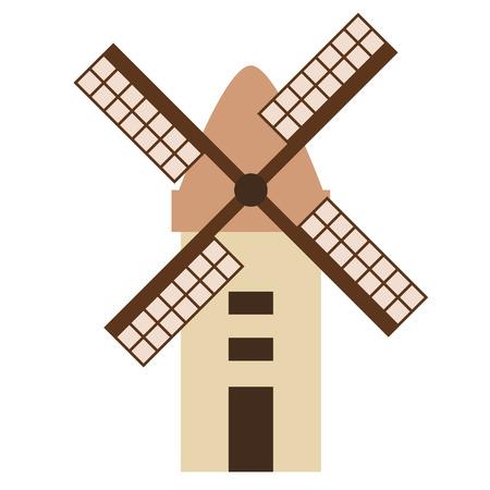 Windmill flat illustration on white