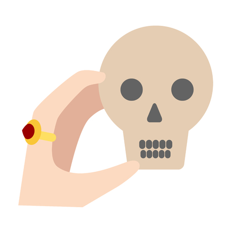 Hand holding skull flat illustration on white