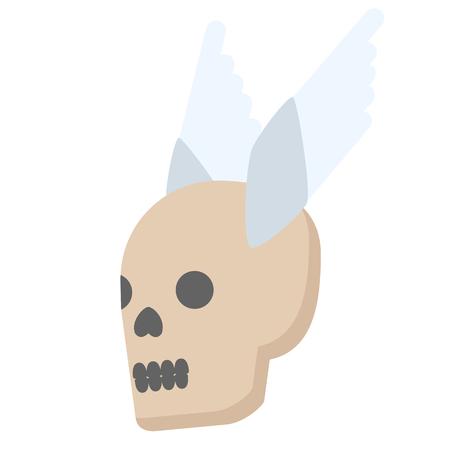 Flying skull flat illustration on white