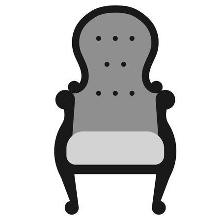 Grey armchair flat illustration on white