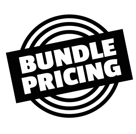 Print bundle pricing stamp on white