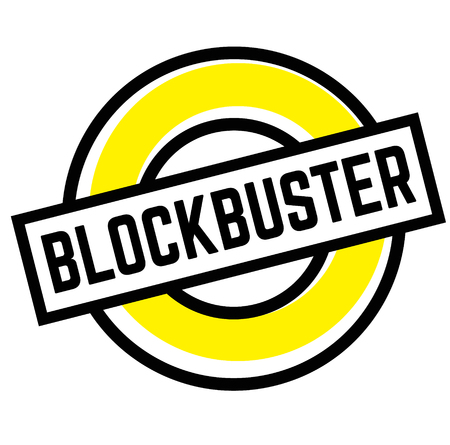 Print blockbuster stamp on white