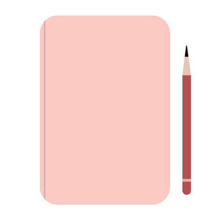 Pink notebook flat illustration on white. Hiking and weekend escape objects series.