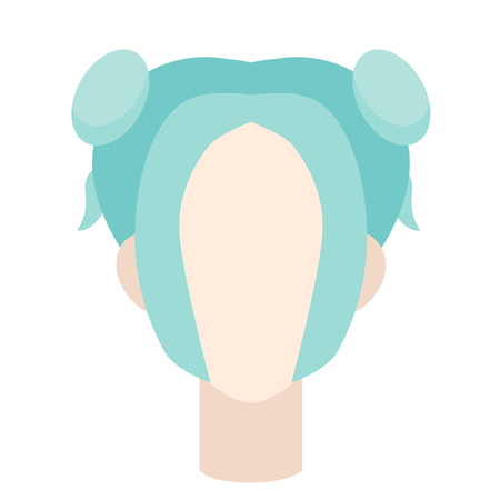Blue pigtails flat illustration on white. Fashion and haircut series. Standard-Bild - 124213750