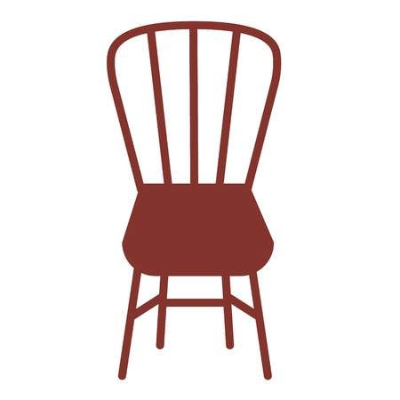 Brown chair flat illustration on white. Lifestyle and everyday object series.