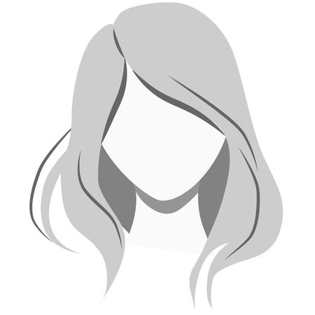 Middle-length hair flat illustration on white. Fashion and haircut series. Illusztráció