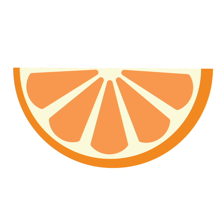 Slice of orange flat illustration on white. Home kitchen and food object series. Stock Illustratie