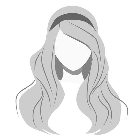 Long hair flat illustration on white. Fashion and haircut series.