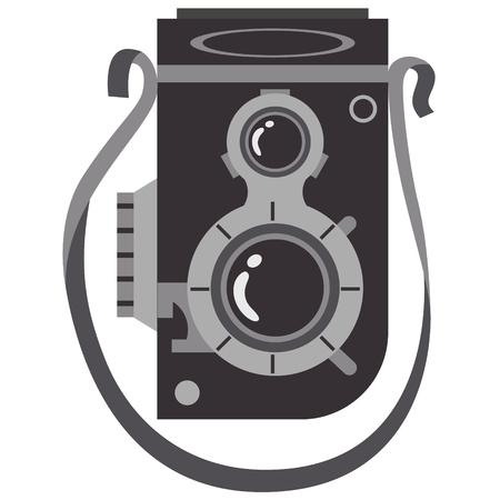 Photo camera flat illustration on white Illustration
