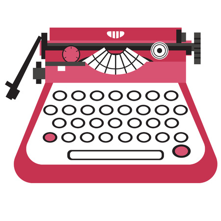 Typewriter flat illustration on white. Home, lifestyle and fashion objects series.