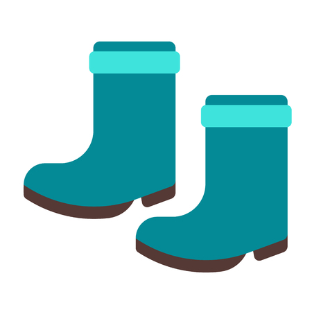 rain boots flat illustration on white. Lifestyle and everyday objects series. Vetores