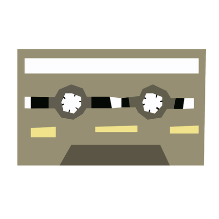 record tape flat illustration on white. Lifestyle and everyday objects series.
