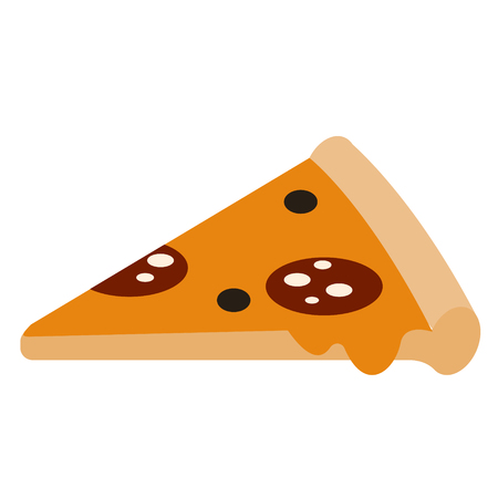 pizza slice flat illustration on white