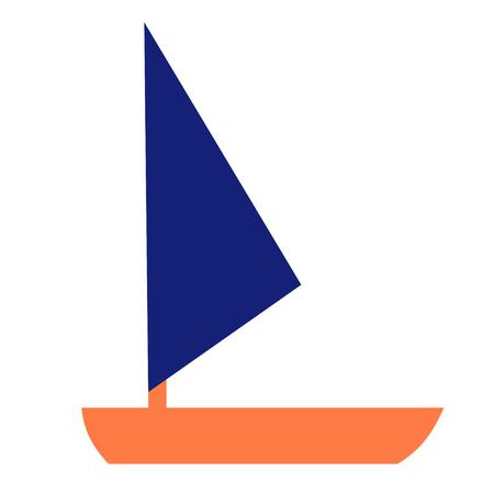 boat flat illustration on white. Marine and underwater world series.