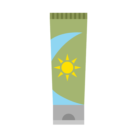 sunscreen flat illustration on white. Lifestyle and fashion series.