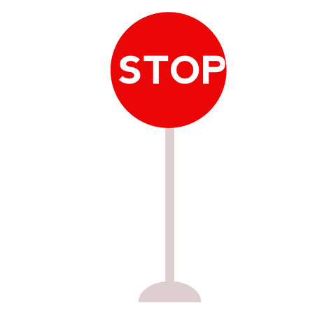 Stop sign flat illustration on white. Transportation and city traffic series.