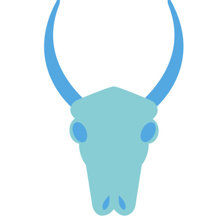 Bull skull flat illustration on white. Tattoos, magic signs and mexican life series.
