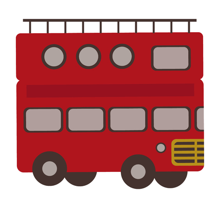 Tourist bus flat illustration on white. Lifestyle, kids and everyday objects series.