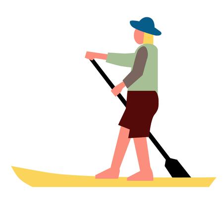 Man on a boat flat illustration on white