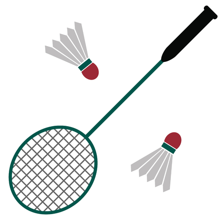 Badminton flat illustration on white. Beach, vacation and sports series.