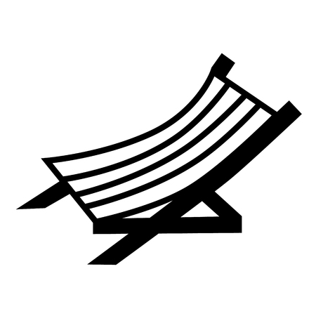 Hammock chair flat illustration on white. Beach, vacation and sports series.