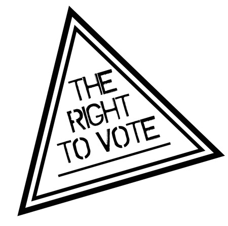 THE RIGHT TO VOTE stamp on white background. Labels and stamps series. Ilustração