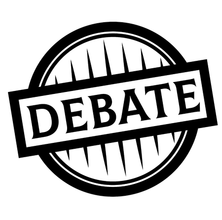 DEBATE stamp on white background. Labels and stamps series.