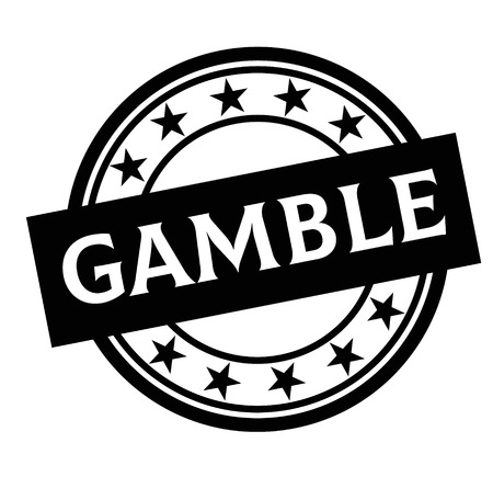 GAMBLE stamp on white background. Labels and stamps series. Çizim