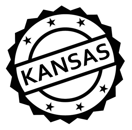 KANSAS stamp on white background. Labels and stamps series. Çizim