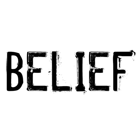 BELIEF stamp on white