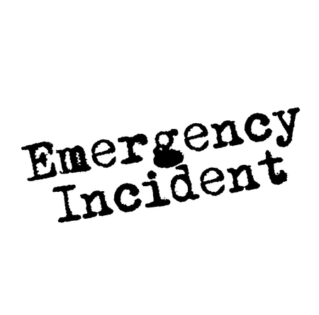 EMERGENCY INCIDENT stamp on white 向量圖像