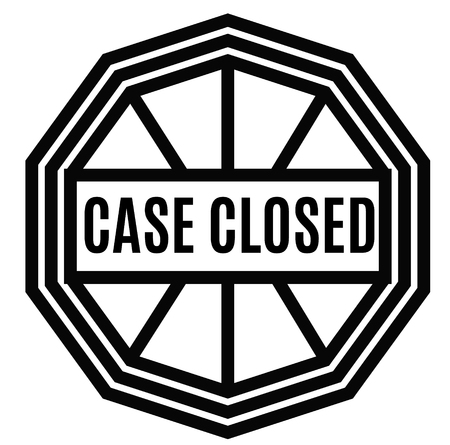 CASE CLOSED stamp on white background. Labels and stamps series.