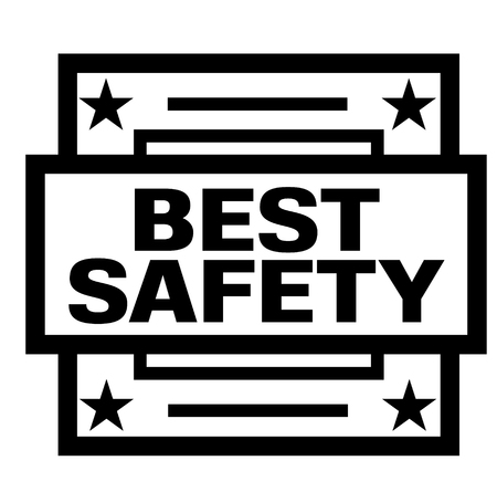 BEST SAFETY stamp on white background. Labels and stamps series.