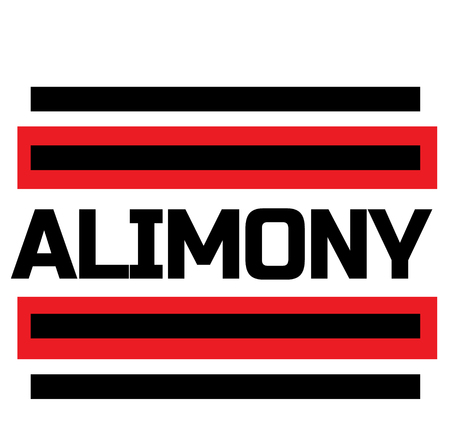 ALIMONY stamp on white background. Labels and stamps series.