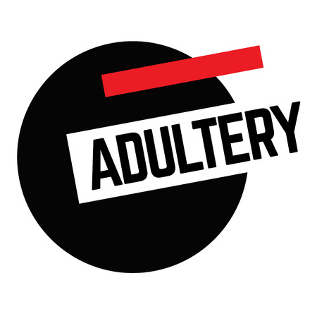 ADULTERY stamp on white background. Labels and stamps series. Illustration