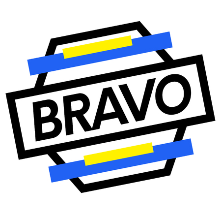 BRAVO stamp on white background. Labels and stamps series.