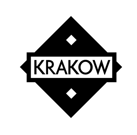 KRAKOW stamp on white background. Labels and stamps series. Illustration