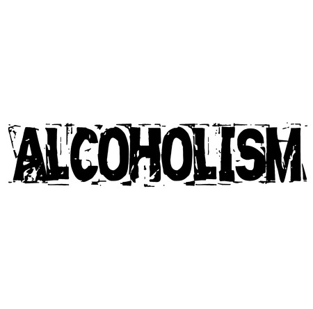 ALCOHOLISM stamp on white