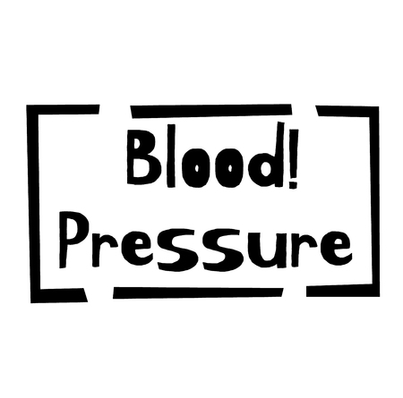 BLOOD PRESSURE stamp on white background. Labels and stamps series.