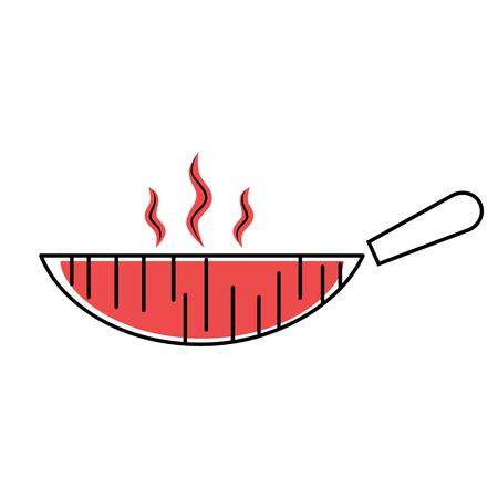 Ilustración plana sartén roja sobre blanco. Vajilla de cocina, serie hortalizas y alimentación.