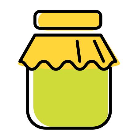jam jar flat illustration on white. Kitchen tableware, vegetables and food series. Illustration
