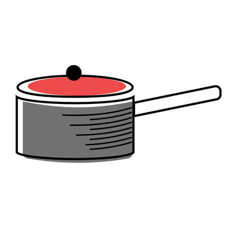 long handled saucepan flat illustration on white. Kitchen tableware, vegetables and food series.