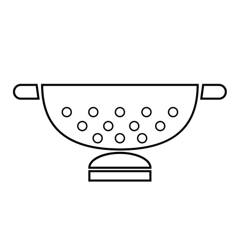 white sieve flat illustration on white 일러스트