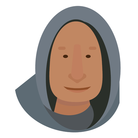 hood man flat illustration on white. Everyday objects and city life series.