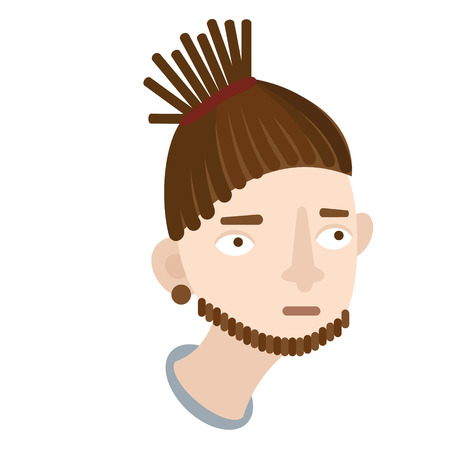 dreadlocks man flat illustration on white  イラスト・ベクター素材