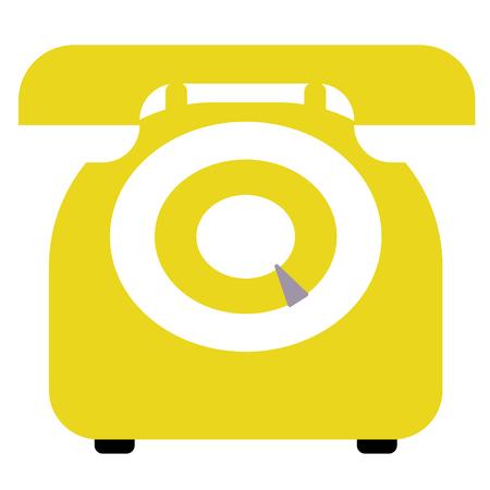 yellow retro phone flat illustration on white