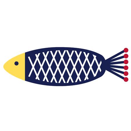 blue fish flat illustration on white. Marine and undewater life series. Иллюстрация