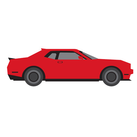 red car flat illustration on white. Everyday objects and city life series.
