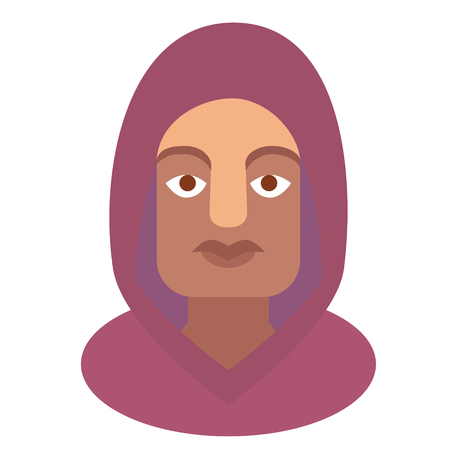 purple hoody man flat illustration on white. Everyday objects and city life series.